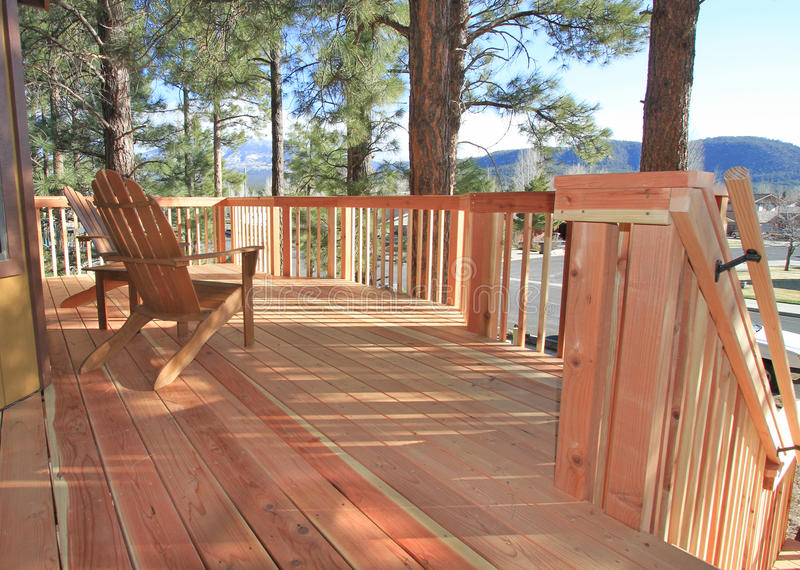 Redwood deck. And handrail overlooking the mountains in Arizona stock photo