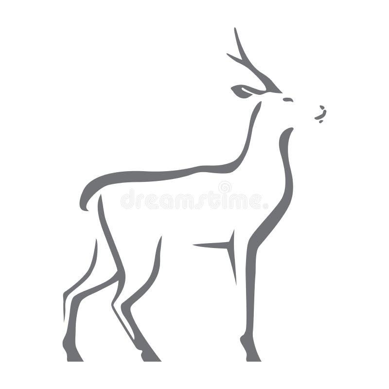 Reeën vectorbeeld, op witte achtergrond Gestileerd silhouet als embleem of mascotte vector illustratie