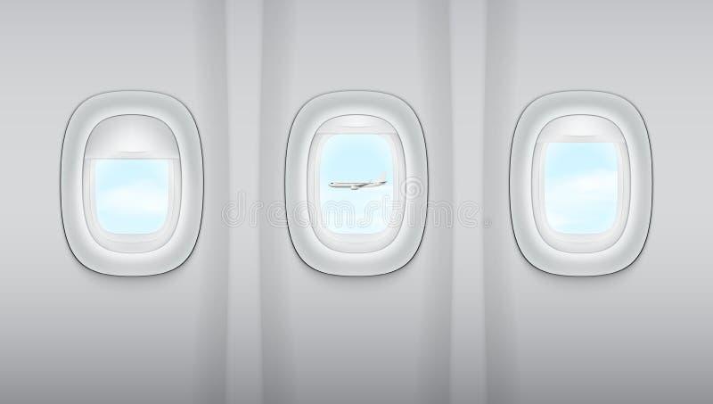 Reealistic-Licht Gray Plane Windows vektor abbildung