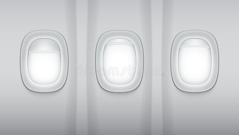 Reealistic Light Gray Plane Windows. EPS10 Vector royalty free illustration