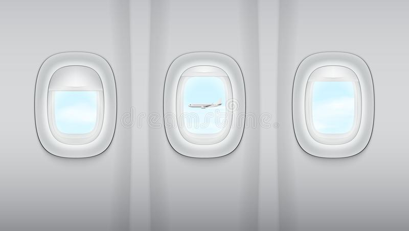 Reealistic Light Gray Plane Windows. And Other Plane. EPS10 Vector vector illustration
