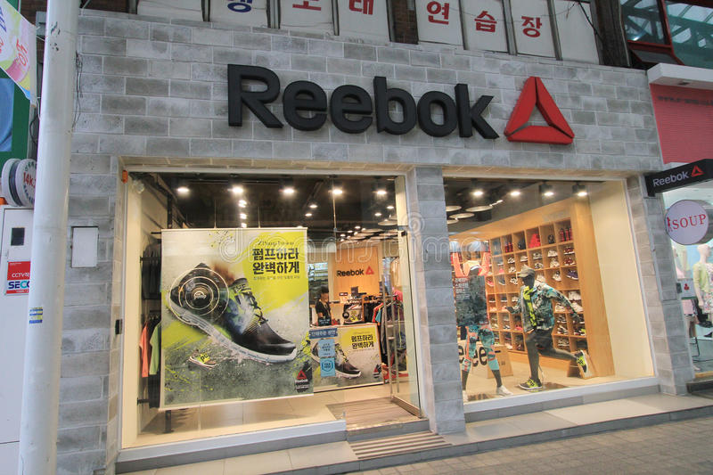 Reebok shop in South Korea. Reebok shop, located in Seoul, South Korea.reebok is a shoes retailer in South Korea royalty free stock image