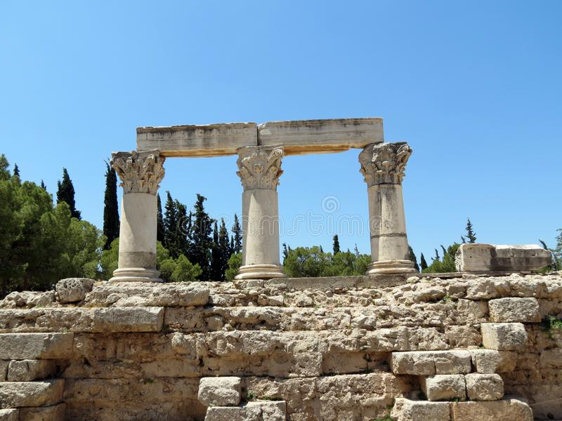 Reece, Corinth,remains of Corinthian columns royalty free stock image