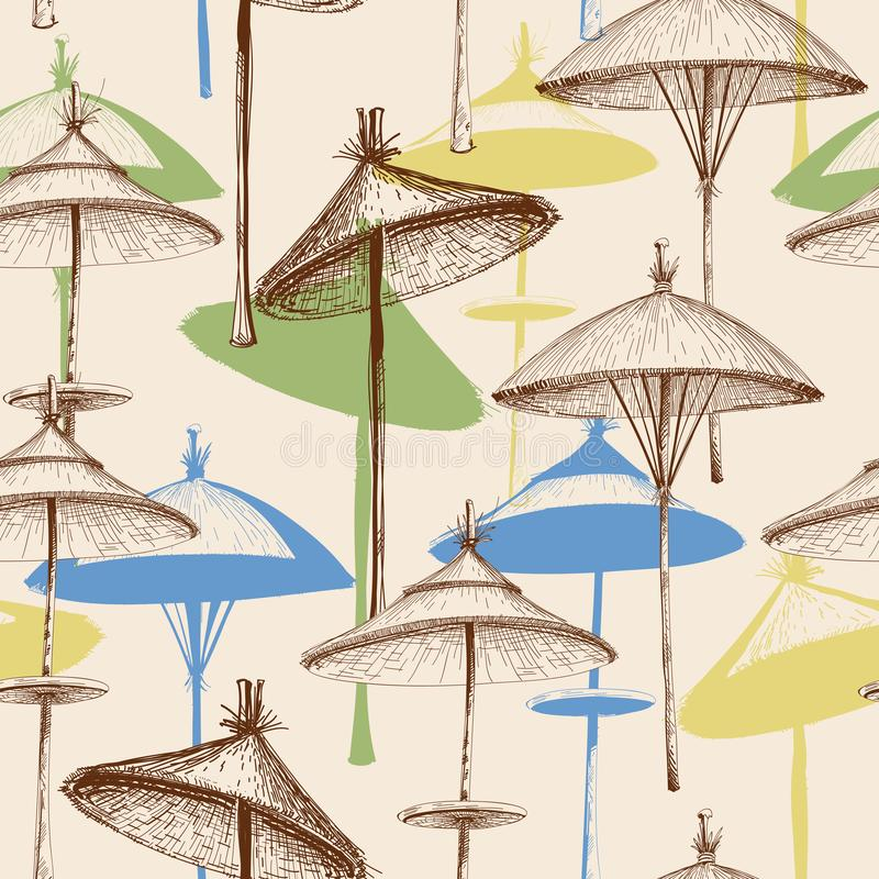 Reed beach umbrellas pattern. Reed beach umbrellas retro colorful seamless pattern in soft colors stock illustration