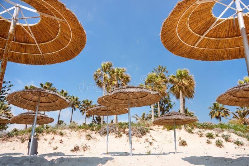 Reed beach umbrellas, sunshades against blue sky on the beach. Bamboo parasols, straw umbrellas on on white sandy. Tropical seashore. Tropical sea beach stock images