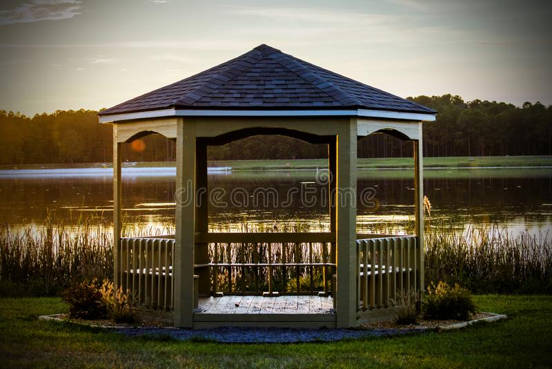 Reed Bingham State Park Gazebo by the lake. Sunset over the gazebo. Reed Bingham is a Georgia State Park in Colquitt County and Cook County. Coastal Plains royalty free stock photos