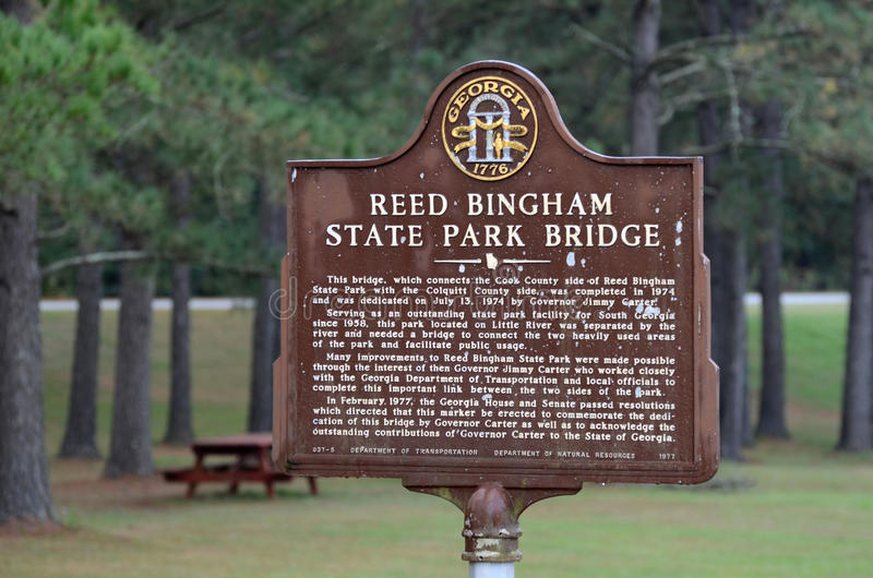 Reed Bingham State Park Historical Marker stock afbeeldingen