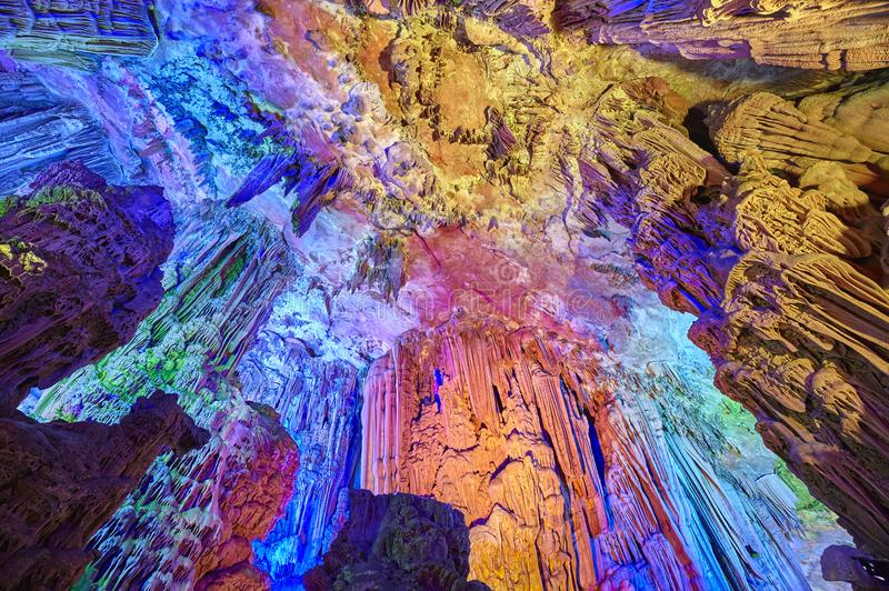 Reed Flute Cave a Guilin, Cina fotografie stock