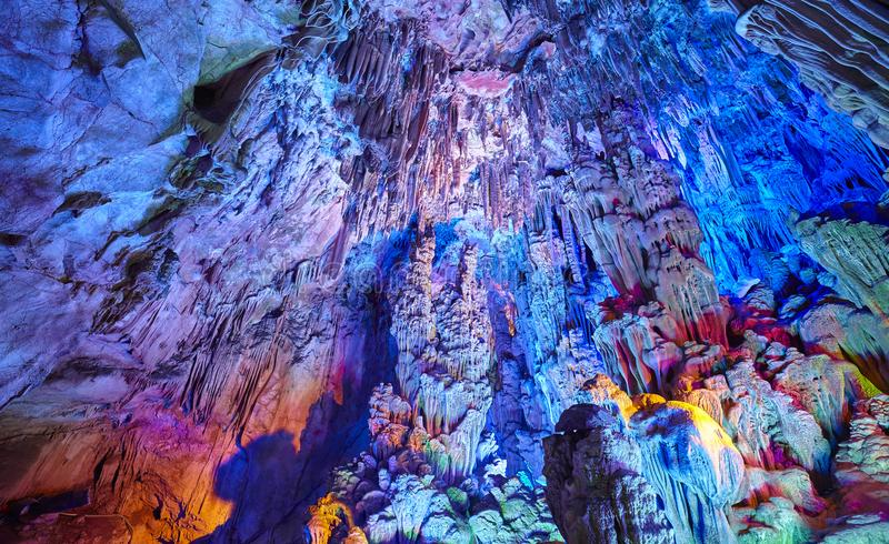 Reed Flute Cave a Guilin, Cina immagine stock libera da diritti