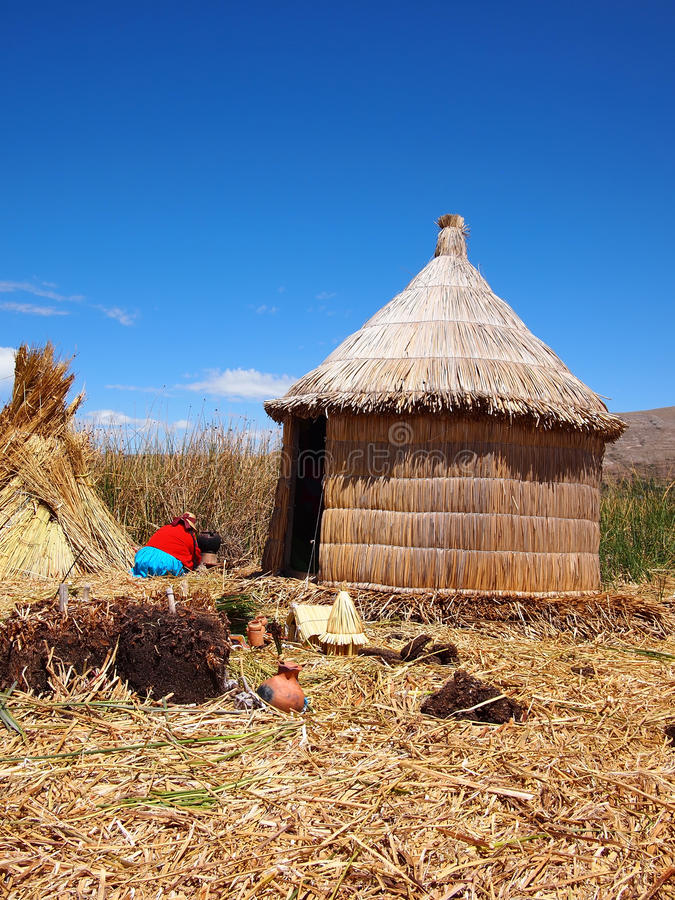 Reed hut on the floating Uros islands
