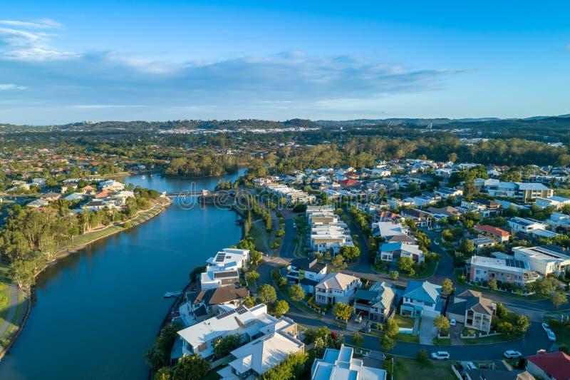 Reedy creek and luxury houses. Varsity Lakes. Aerial landscape of Reedy creek and luxury houses. Varsity Lakes, Gold Coast, Queensland, Australia royalty free stock photos