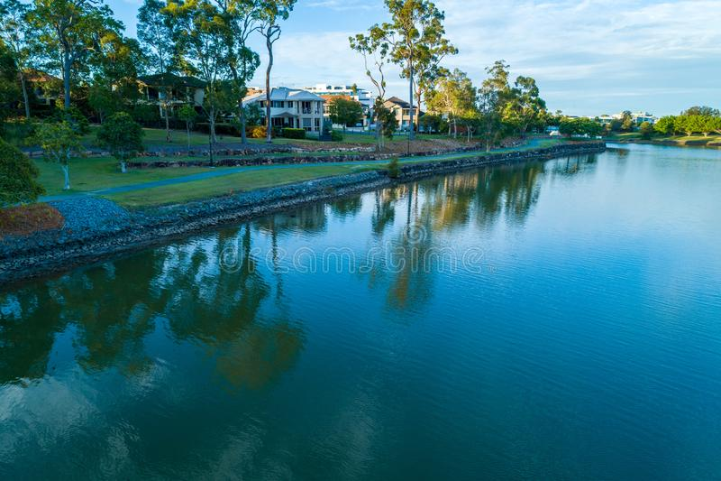 Reedy Creek and walking trail in Varsity Lakes. Reedy Creek and walking trail in Varsity Lakes, Gold Coast, Queensland, Australia stock images