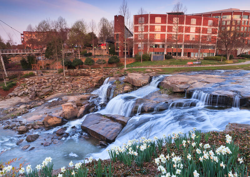 Reedy River Waterfalls Greenville South Carolina G fotos de stock