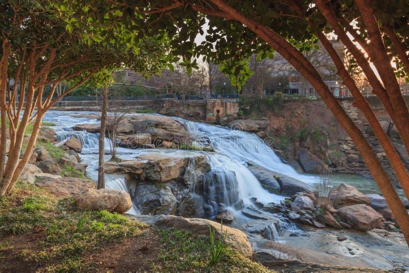 Reedy River Waterfalls Greenville South Carolina Side View fotografia de stock royalty free