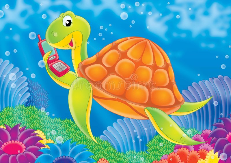 Reef 07. Illustration for children. A series Reef . Animals of a coral reef. Turtle