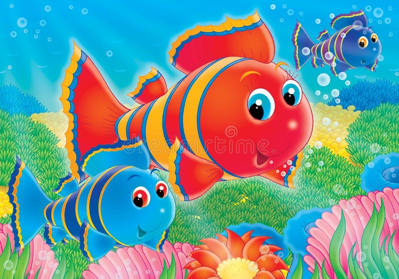 Reef. Illustration for children. A series Reef . Animals of a coral reef. Fish