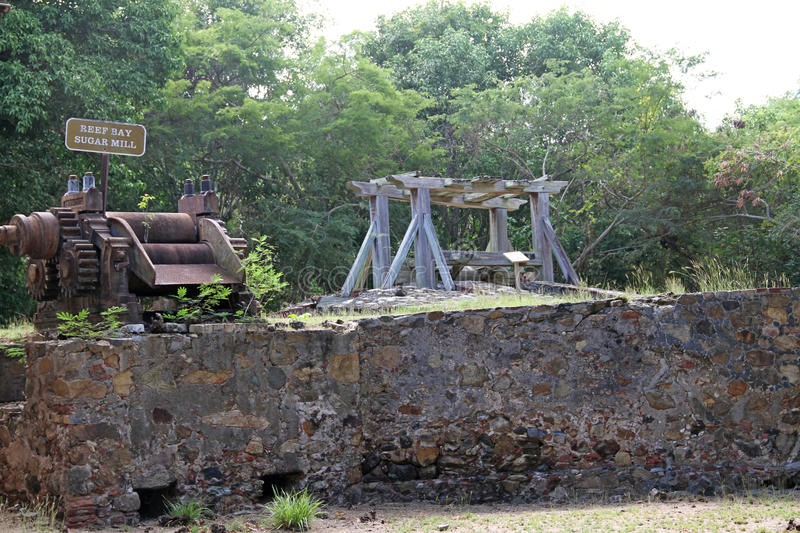 The Reef Bay Sugar Mill - St. John, USVI. Reef Bay Sugar Factory Historic District is a historic section of Saint John, United States Virgin Islands located on stock photo