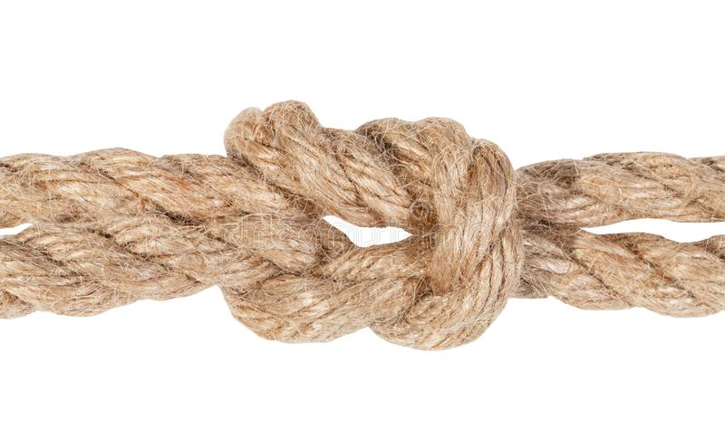 reef knot joining two ropes close up isolated royalty free stock photography