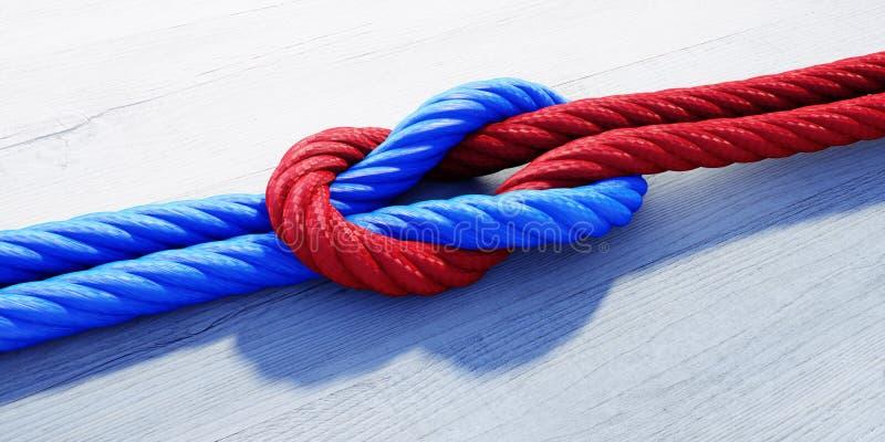 Reef knot or square Knot - 3D illustration stock illustration