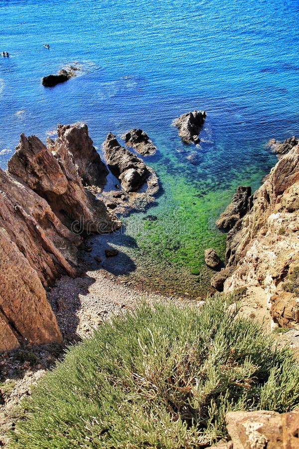 Reef of the Sirens in Cabo de Gata, Almeria, Spain. In a sunny day of summer royalty free stock photography
