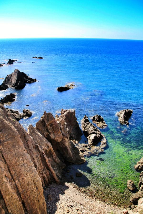 Reef of the Sirens in Cabo de Gata, Almeria, Spain. In a sunny day of summer royalty free stock photos
