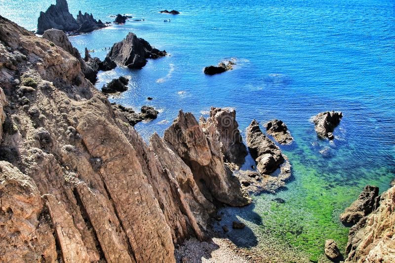 Reef of the Sirens in Cabo de Gata, Almeria, Spain. In a sunny day of summer stock images