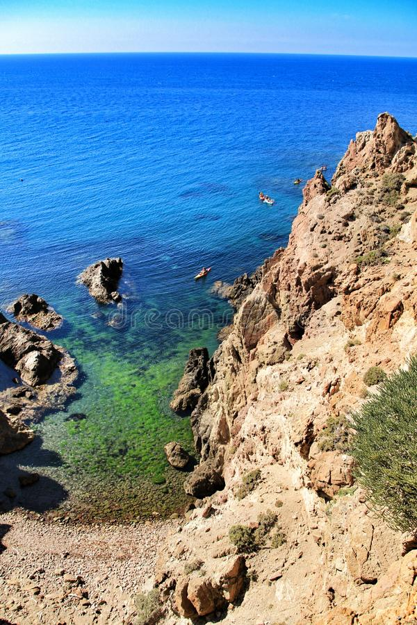 Reef of the Sirens in Cabo de Gata, Almeria, Spain. In a sunny day of summer stock photography