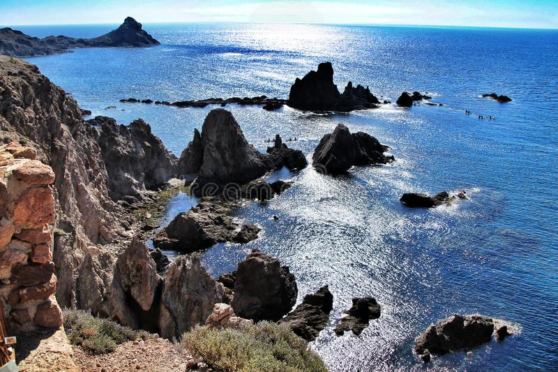 Reef of the Sirens in Cabo de Gata, Almeria, Spain. In a sunny day of summer stock photos
