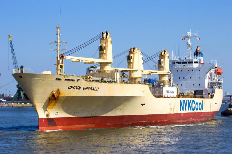 Reefer ship. ANTWERP, BELGIUM - JUL 9, 2013: Reefer ship Crown Emerald from NYCool. In 2014 NYKCool became Cool Carriers under new ownership stock images