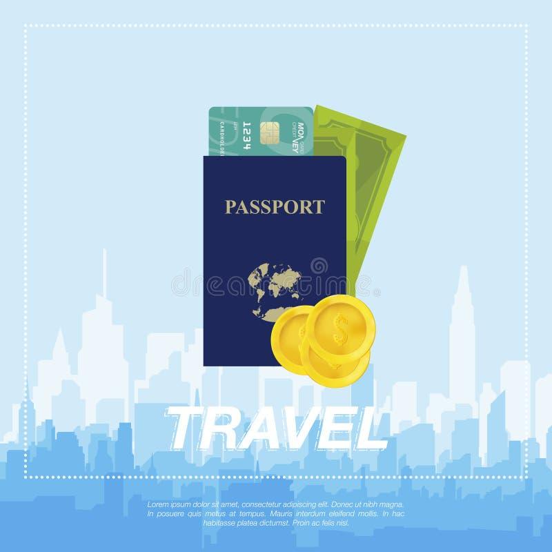 Reeks aan reis Het vliegtuig, een paspoort met geld royalty-vrije illustratie