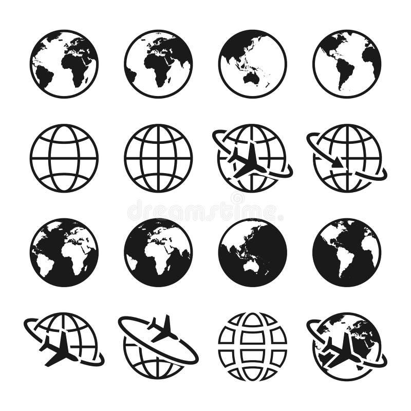 Reeks aardepictogrammen Bolteken Luchtreis, vervoer en leveringsconcept vector illustratie