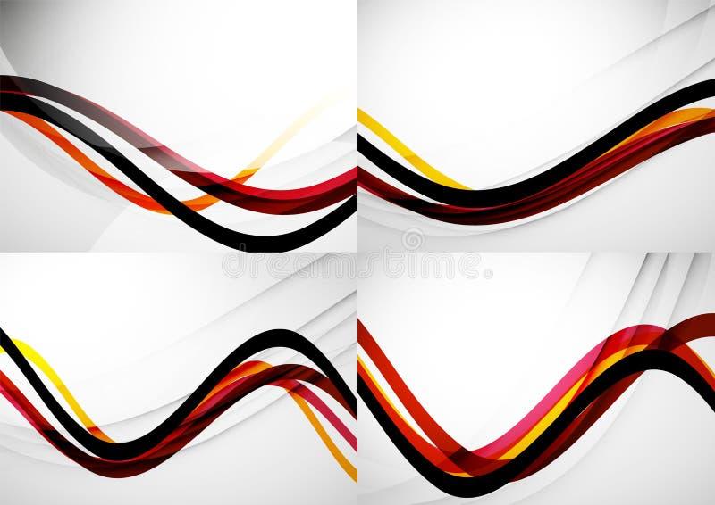 Reeks abstracte achtergronden De lijnen van de krommegolf met vector illustratie