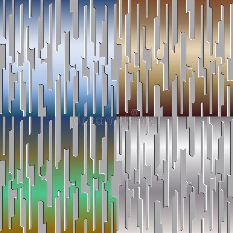 Reeks abstracte achtergronden met metaalgradiënt royalty-vrije illustratie