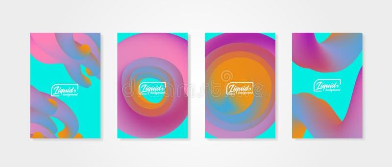 Reeks abstracte achtergronden met vloeibare vormen Dekkingsmalplaatjes met vloeibare voorwerpen stock illustratie