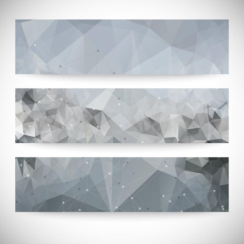 Reeks abstracte achtergronden, moleculestructuur, stock illustratie