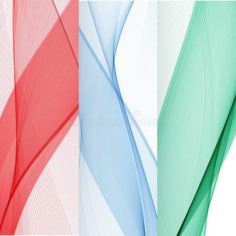 Reeks abstracte banners gekleurde golven Rood, Blauw, Groen vector illustratie