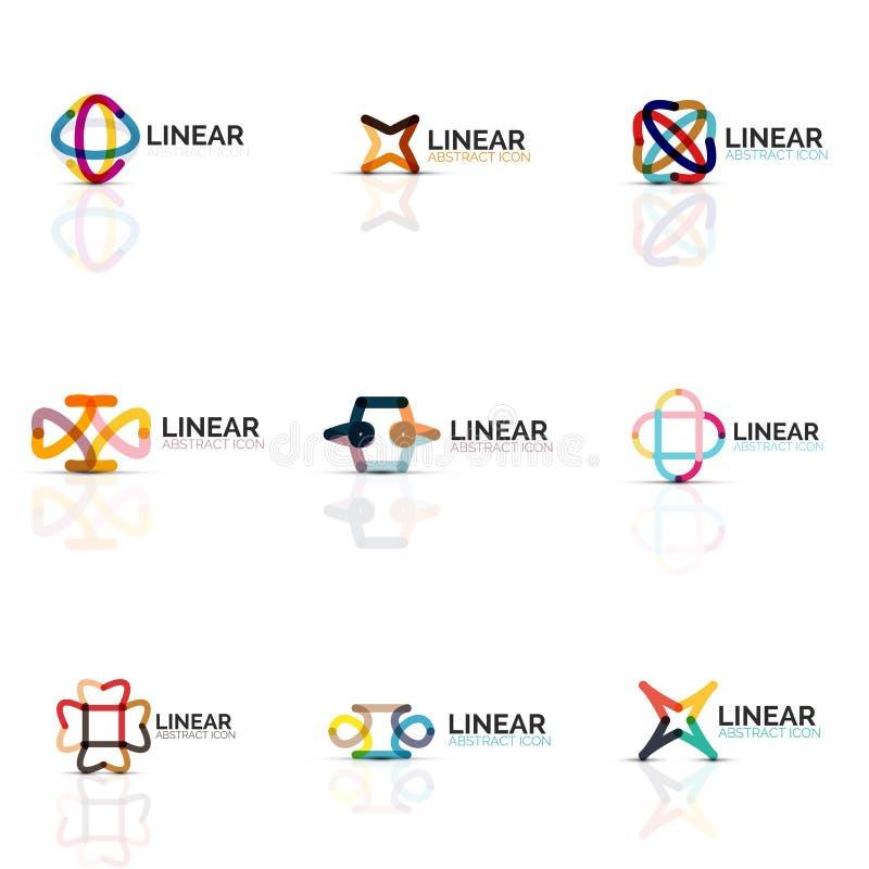 Reeks abstracte bloem of ster minimalistic lineaire pictogrammen, dunne lijn geometrische vlakke symbolen voor bedrijfspictogramo vector illustratie