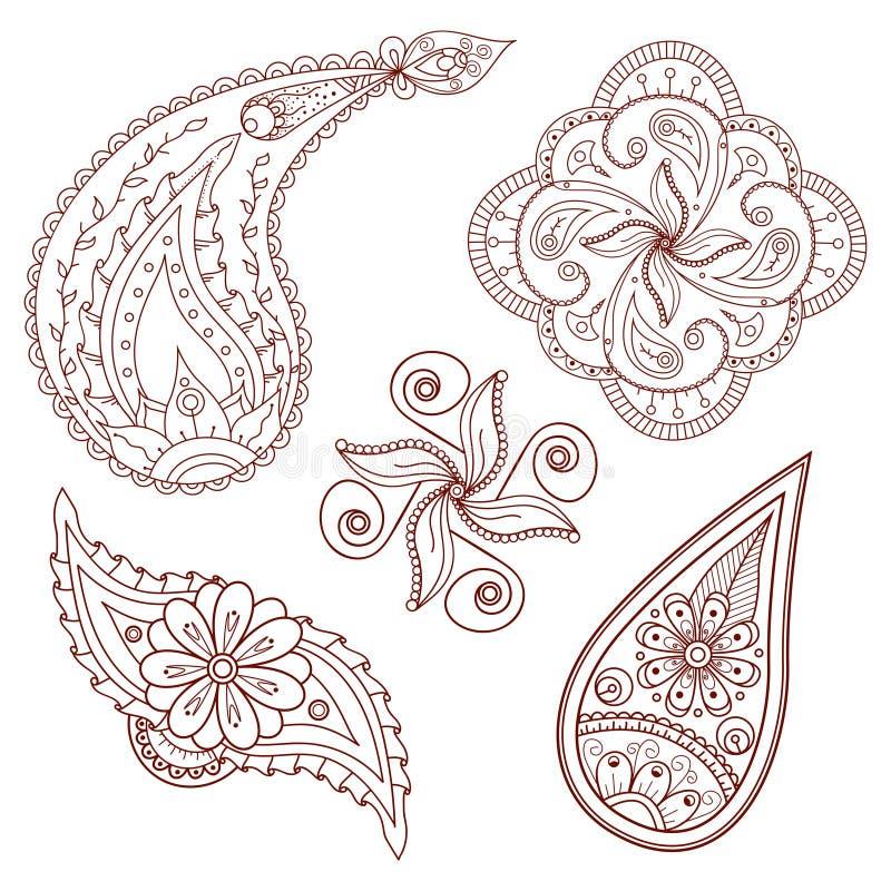 Reeks abstracte bloemen en elementen van Paisley vector illustratie