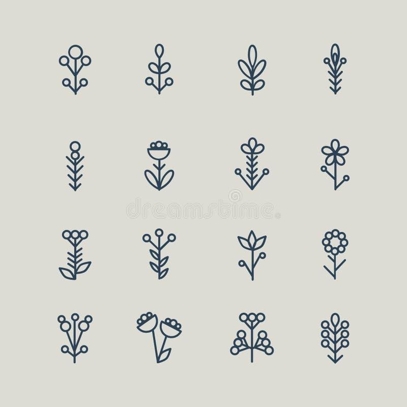 Reeks abstracte bloemen van lijnpictogrammen Vector illustratie royalty-vrije illustratie
