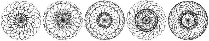 reeks abstracte cirkelselementen Dreamcatcher Astrologie, spiritualiteit, magisch symbool Etnisch stammenelement vector illustratie