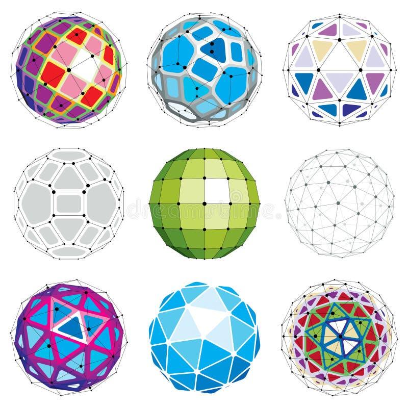 Reeks abstracte 3d gefacetteerde cijfers met verbonden lijnen Vector vector illustratie