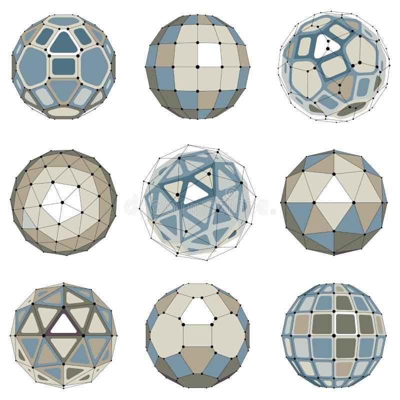 Reeks abstracte 3d gefacetteerde cijfers met verbonden lijnen Vector stock illustratie