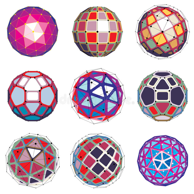 Reeks abstracte 3d gefacetteerde cijfers met verbonden lijnen Vector royalty-vrije illustratie