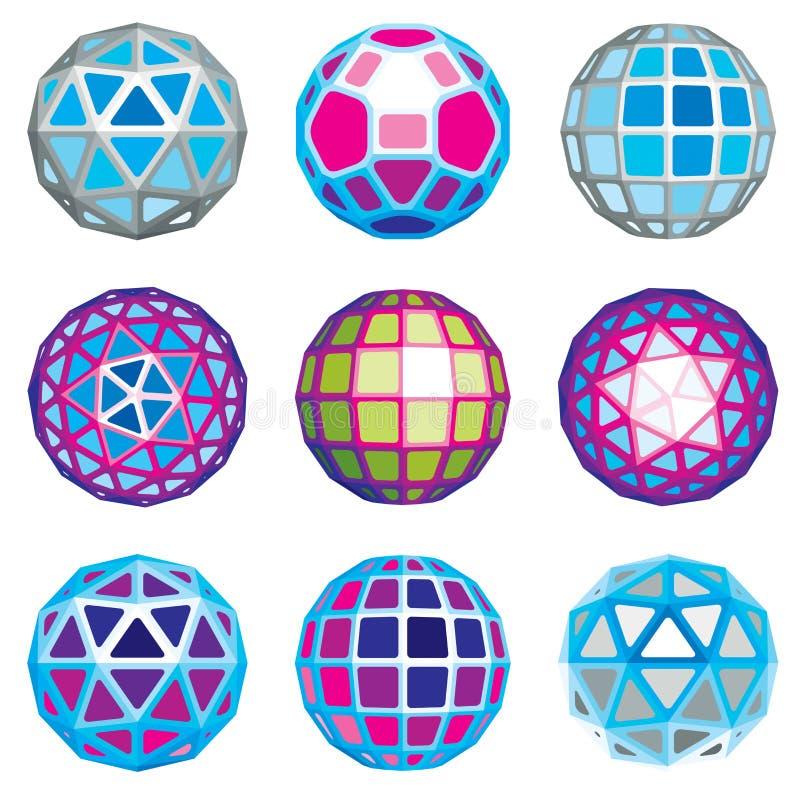 Reeks abstracte 3d gefacetteerde cijfers Vector laag polyontwerp royalty-vrije illustratie