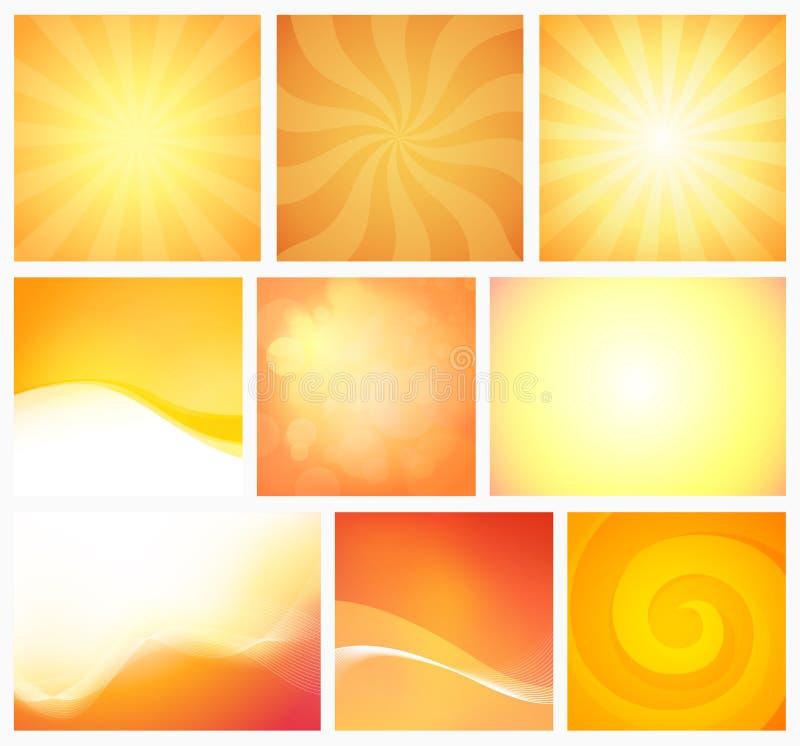 Reeks Abstracte Geeloranje warme kleuren Als achtergrond Vectorelementenontwerp met kleurrijk helder behang vector illustratie