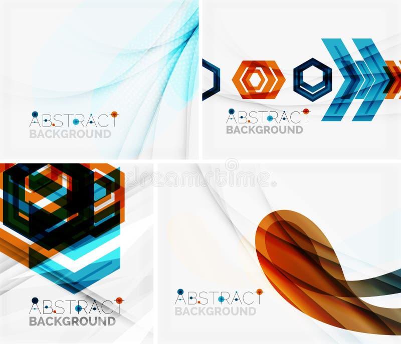 Reeks abstracte geometrische achtergronden Golven royalty-vrije illustratie