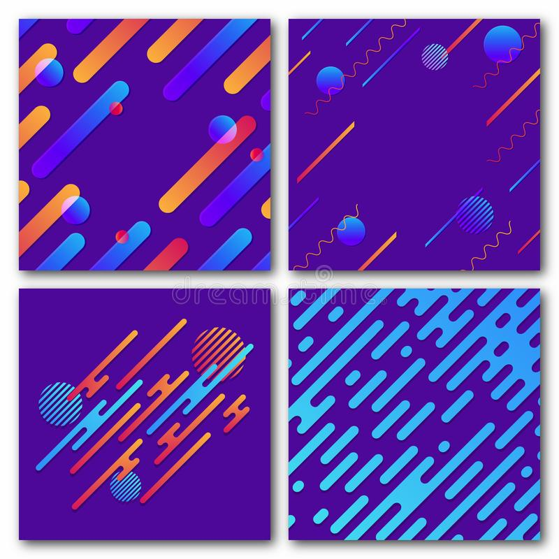 Reeks abstracte geometrische achtergronden Modern dynamisch patroon Rond gemaakte diagonale lijnen met cirkels, golven royalty-vrije illustratie