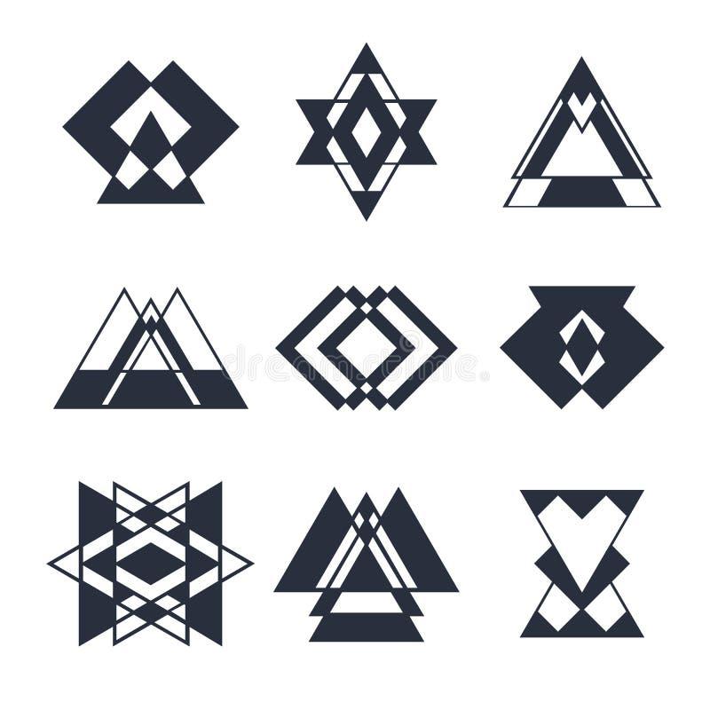 Reeks abstracte geometrische elementen, in hipsterembleem, royalty-vrije illustratie