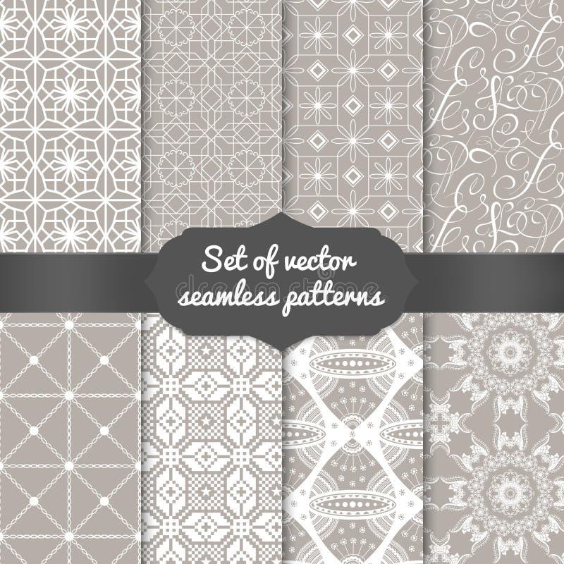 Reeks abstracte geometrische patroonachtergronden stock illustratie