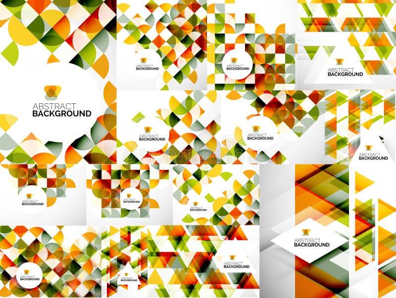 Reeks Abstracte Geometrische Vliegermalplaatjes vector illustratie